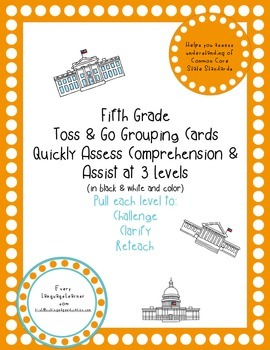 Fifth Grade  Toss & Go Grouping Cards Quickly Assess Compr