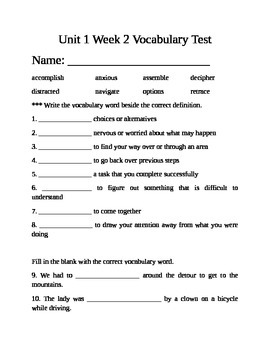 Fifth Grade Unit 1 Week 2 Vocabulary test McGraw Hill Wonders