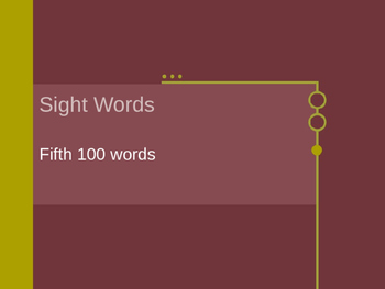 Fifth Set of 100 Sight Words on Power Point