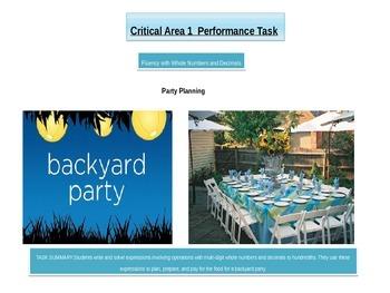 "Fifth grade  Critical Area 1 Math Performance Task  ""Plann"