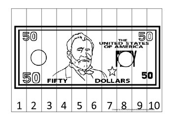 Fifty Dollar Bill 1-10 Number Sequence Puzzle. Financial e
