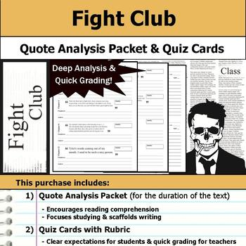 Fight Club - Quote Analysis & Reading Quizzes