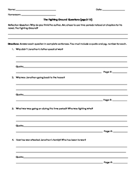 Fighting Ground By Avi Questions for p.3-15