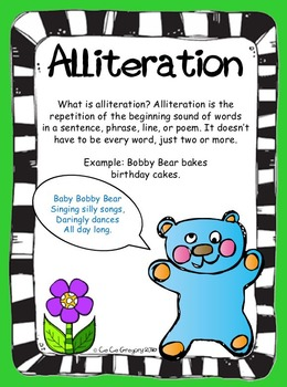 Figurative Language Alliteration Poster and Lesson Station