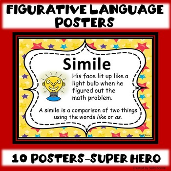 Figurative Language Anchor Charts Posters Super Hero Theme