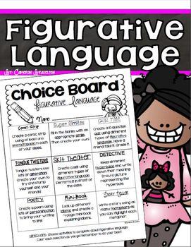 Figurative Language Choice Board (Simile, Metaphor, Allite
