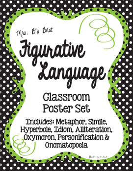 Figurative Language Classroom Posters in Black, Lime and W