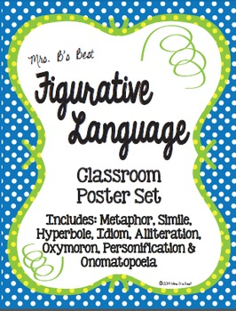 Figurative Language Classroom Posters in Lime, Blue and Le