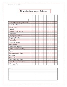 Figurative Language Data Sheet - Animals