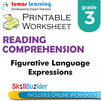 Figurative Language Expressions Printable Worksheet, Grade 3