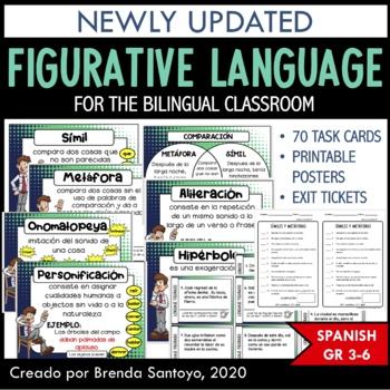 Figurative Language/ Figuras Literarias Task Cards and Exi