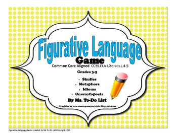 Figurative Language Game - Idioms, Similes, Metaphors, Ono