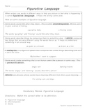 Figurative Language Handout and Assessment
