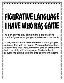 Figurative Language I have who has game