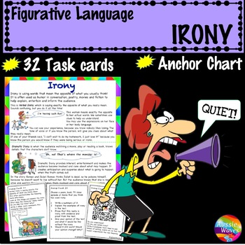 Figurative Language IRONY UNIT Anchor Chart and Task Cards