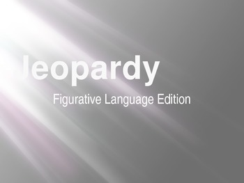 Figurative Language Jeopardy Review Game