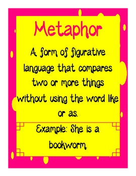Figurative Language: Metaphor Packet!  Supports CCSS RL.5.4