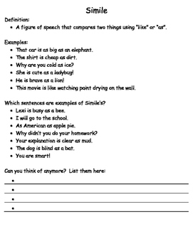 Figurative Language Packet with Answer Key