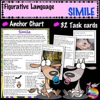 Figurative Language SIMILE UNIT Anchor Chart and Task Cards