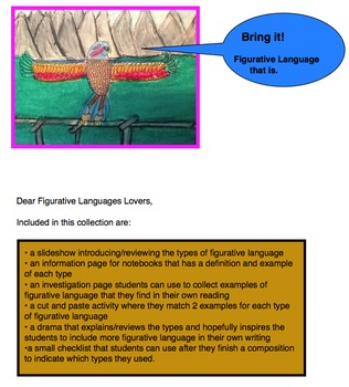 Figurative Language Slideshow and Activities