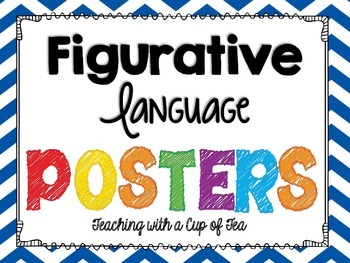 Figurative Language Sort with Posters & foldables (Chevron
