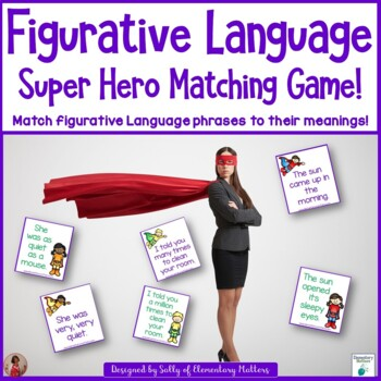 Figurative Language Super Hero Matching Game!