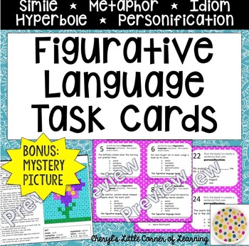 Figurative Language Task Cards and Mystery Picture - Ident