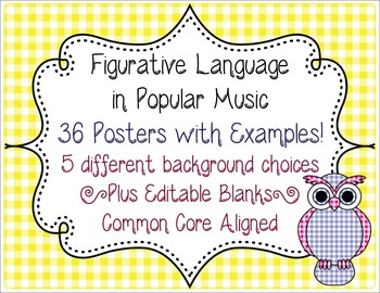 Figurative Language in Music Posters CCSS L.6.5-L.12.5 Sim