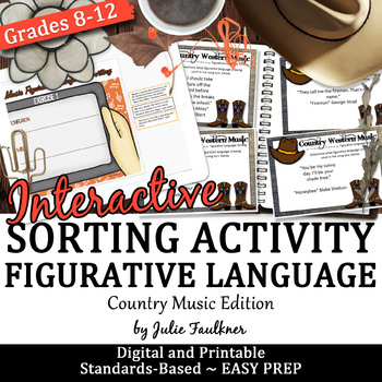 Figurative Language Interactive Game, Country Songs, Works