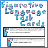 Figurative Language Task Cards 30 cards with metaphors, si