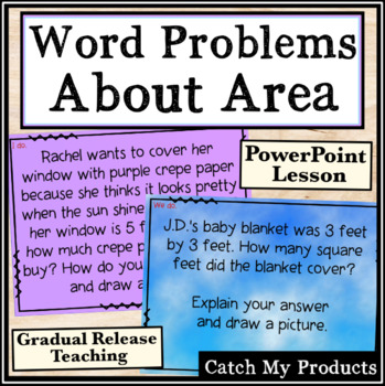 Word Problems Involving Area of Rectangles Power Point for