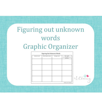 Figuring Out Unknown Words Graphic Organizer