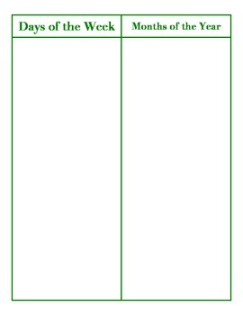 File Folder Activity Sequencing Days/Months (Green)