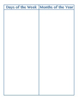 File Folder Activity Sequencing Days/Months (Light Blue)