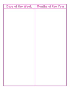 File Folder Activity Sequencing Days/Months (Pink)