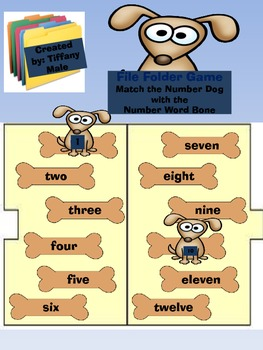 File Folder Game: Dog Number and Number Word Match 1-12