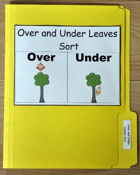 """File Folder Game--""""Fall Leaves:  Over and Under Sort"""""""