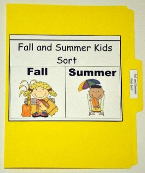 "File Folder Game--""Fall and Summer Kids Sort"""