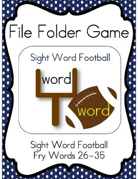 File Folder Game Football (Fry Words 26-35)