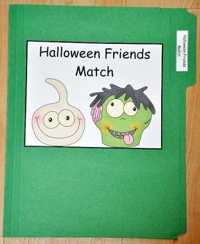 File Folder Game:  Halloween Friends Match