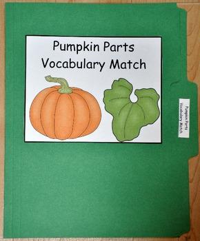 File Folder Game:  Pumpkin Parts Vocabulary Match