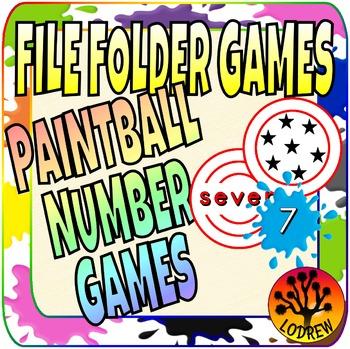 File Folder Games Numbers Paintball Math Center Kindergart