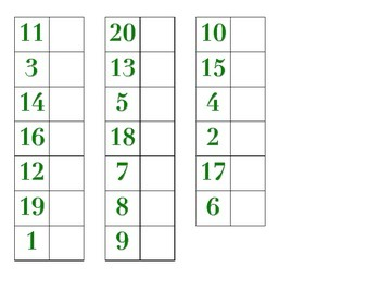 File Folder Matching Numerals 1-20 (Green)
