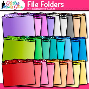 File Folder Clip Art {Rainbow Glitter Back to School Suppl