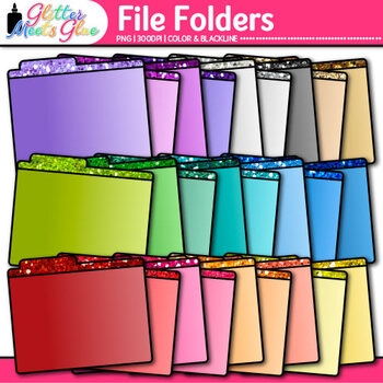 File Folder Clip Art {Rainbow Glitter Back to... by Glitter Meets ...