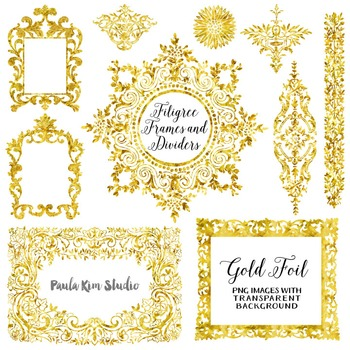 Filigree Flourish Clip Art Frames and Page Dividers