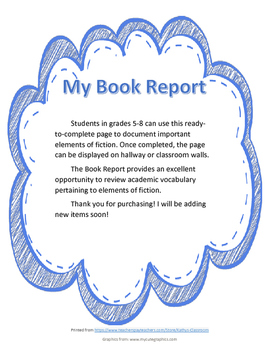 Story Elements Fill-In Book Report for Fiction