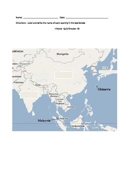 Fill In the Blank Map of Asia