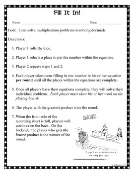 Fill It In - Multiplying Decimals by Whole Numbers
