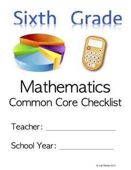 Fill and Save Sixth Grade (6th Grade) CCSS Math Checklist